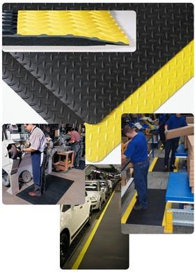 Gummimatte / Arbeitsmatte / Cushion Trax (schwarz) / 122 cm x 22,8 m / schwarz-gelb