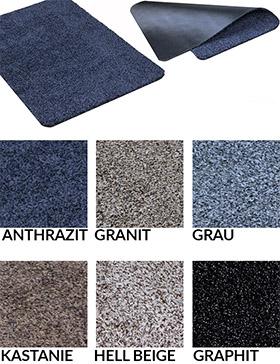 Fußmatte / uni Farben / Trockenlauf Natuflex  / 50 cm x 80 cm / granit/ abgerundeten Ecken