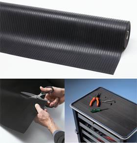 Gummimatte / Allwettermatte / Rib n Roll Breite Rippen 6 mm<br /> / 120 cm x 10 mtr / schwarz