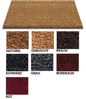 Kokosmatte / uni Farben / MC Kokosmatte 17 - 18 mm / Rolle  100 cm x 12 m / grau